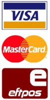 We accept Visa, MasterCard and eftpos.